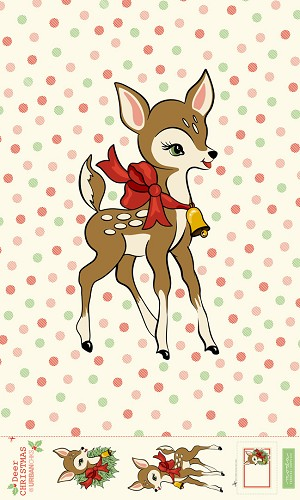 Deer Christmas retro-Reindeer Digitally printed panel - 56'' x 77'' - Urban Chiks for Moda - Digital printing gives more photographic color providing depth and providing more vibrant color than screen printing. Can either be cut out and appliqued, or, use the full panel as a backing.
