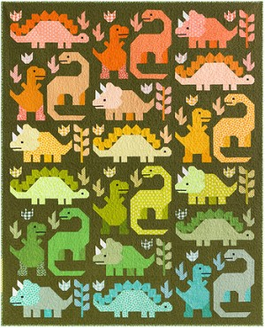 Dinosaurs Quilt Kit by Elizabeth Hartman featuring her new Paintbox Fabric Collection. 69'' x 85'' - Quilt is a colorful collection of dinosaurs. Got a dinosaur lover in your life? This would make the perfect gift. Ships October 2020. - Preorder by August 15 to reserve your Quilt Kit - Free Shipping