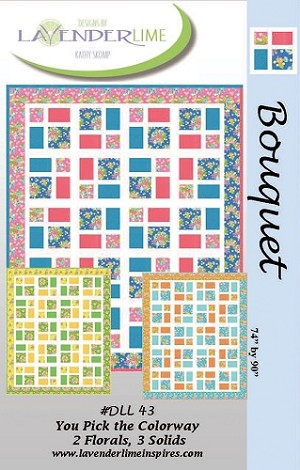 Bouquet Quilt Pattern by Designs by Lavender Lime for Moda Fabrics  - 74 1/2'' x 90 1/2''