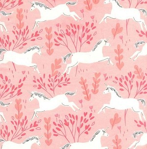 Magic Flannel Unicorn Forest - Blossom by Sarah Jane for Michael Miller Fabrics yardage