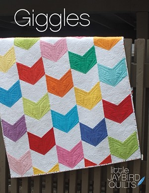 "Giggles Quilt Pattern - 40"" x 44"" - by Julie Herman of Jaybird Quilts - Cover Fabric features Kona Solids by Robert Kaufman Fabrics"