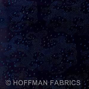 Hand-Painted Bali Batiks - Black/Blue - Hoffman Fabrics yardage - A total of 7.375 yds in stock in three pieces as follows: 2.0, 2.625, 2.75 - Minimum order one yard - must leave one yd on bolt