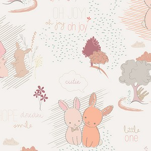 Littlest - Into the Rose Woods -  Furry Tales - White - AGF Studio - Art Gallery Fabrics yardage - Just a yard remaining!!
