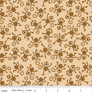 Zoofari - Monkeys on Brown - by Riley Blake Designs yardage - 4.33 yds remain - sold as one piece