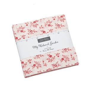 My Redwork Garden Charm Pack includes 42 5'' squares from the collection. By Bunny Hill Designs for Moda Fabrics