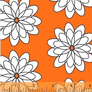 Delight -  Spiral Flower on Orange -  French Bull - Windham Fabrics yardage - 2.125 yds remain - sold as one piece