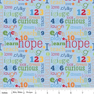 Pieces of Hope - Words on Blue - Riley Blake Fabrics yardage - Full Cuts only