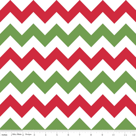 Christmas Medium Chevron Yardage  - Red-White-Green - Riley Blake Designs - 4.75 yds remaining - sold as one piece