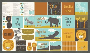 Safari Life Storybook Panel - 36'' x 60'' (Finished Book 7.5'' x 8'') by Stacy Iest Hsu for Moda Fabrics