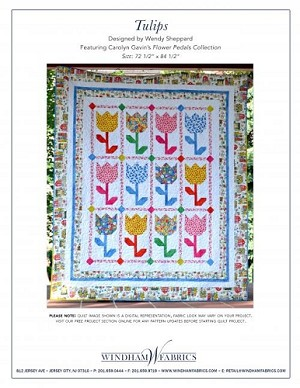 Tulips FREE Mfg. Quilt Pattern by Wendy Sheppard featuring Flower Pedals fabrics by Carolyn Gavin for Windham Fabrics - Tulips FREE Mfg. Quilt Pattern by Wendy Sheppard featuring Flower Pedals fabrics by Carolyn Gavin for Windham Fabrics - 72'' x 85'' - - Note: This is a large pattern to download