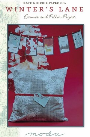 "Winter's Lane Pillow & Banner FREE Mfg. Pattern - Pillow measures 22 1/2"" x 23 1/2"" - Requires 1 Winter's Lane Panel per pillow - You will need to purchase a pillow form"